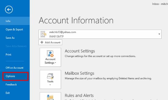 Seleccionar opciones de Outlook 2016