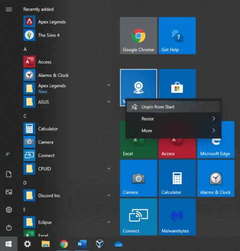 Windows 10: Cómo eliminar mosaicos en vivo del menú Inicio
