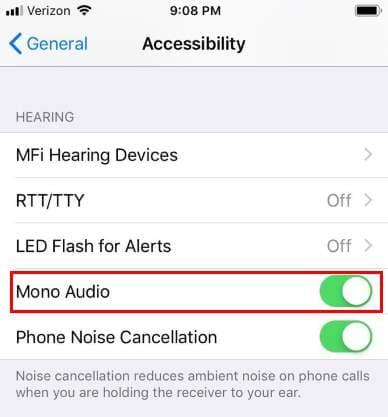 Configuración de audio mono del iPhone