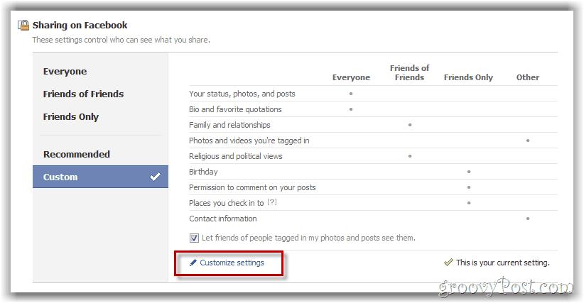 personalizar el botón de configuración de privacidad de Facebook