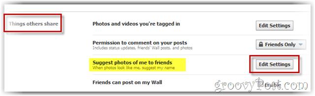 facebook: cambiar la configuración del etiquetado facial
