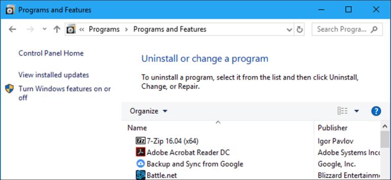 Cómo acceder al panel de programas de desinstalación antiguos en Windows 10
