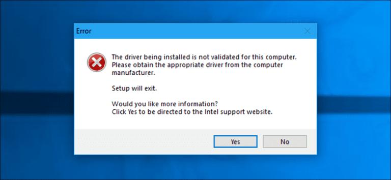 Cómo arreglar «El controlador que se está instalando no está validado para esta computadora» en computadoras Intel