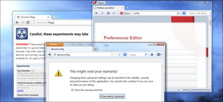 Cómo cambiar la configuración avanzada oculta en cualquier navegador