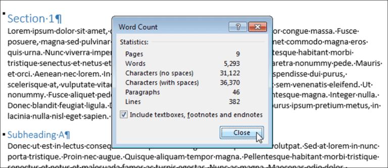 Cómo contar páginas, palabras, caracteres, párrafos y líneas en un documento de Word