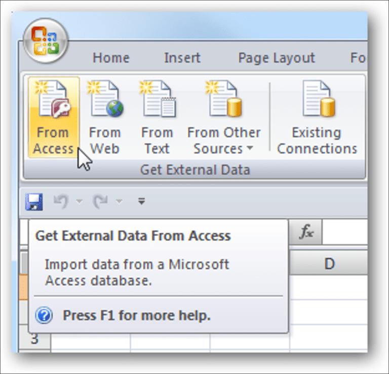 Importar una base de datos de Access a Excel