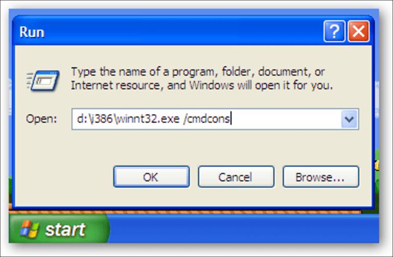 Instale la consola de recuperación como una opción del menú de arranque en Windows XP