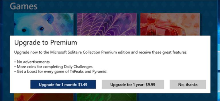 No tiene que pagar $ 20 por año por Solitario y Buscaminas en Windows 10