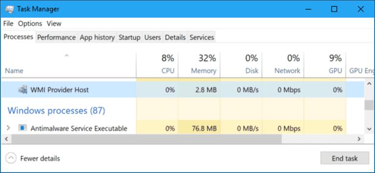 ¿Qué es WMI Provider Host (WmiPrvSE.exe) y por qué utiliza tanta CPU?