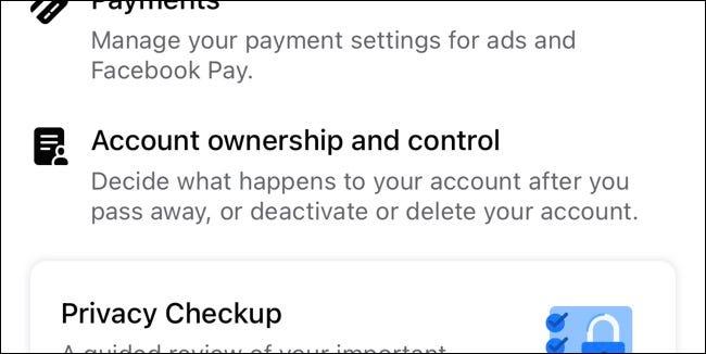 Configuración de control y propiedad de la cuenta de Facebook