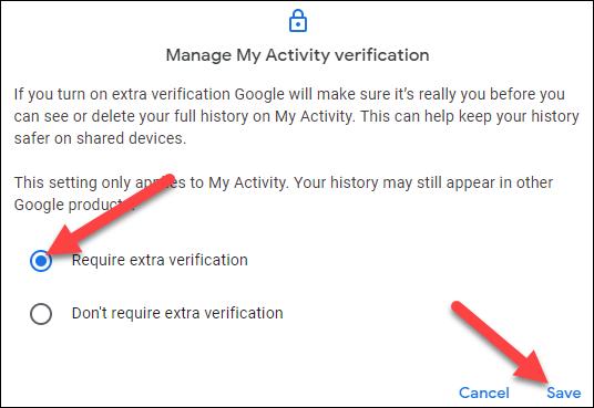 """Para seleccionar """"Requerir verificación adicional"""" y haga clic en """"Para salvaguardar."""""""
