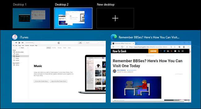 La pantalla Vista de tareas en Windows 10.