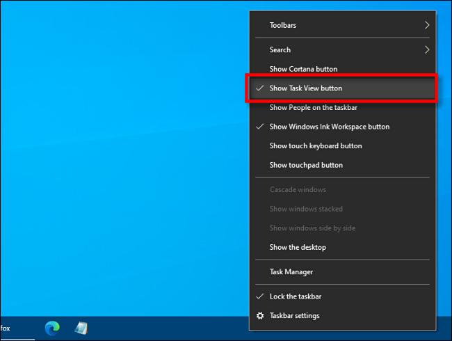 """Haga clic en """"Mostrar el botón Vista de tareas"""" en la barra de tareas."""