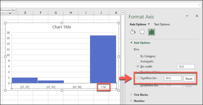 Un histograma de Excel con una figura de bandeja de desbordamiento activada