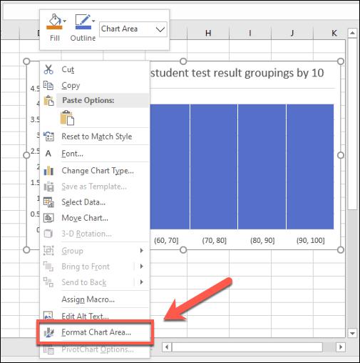 Para realizar cambios estéticos en un histograma de Excel, haga clic con el botón derecho y presione el botón Formato en el área del gráfico