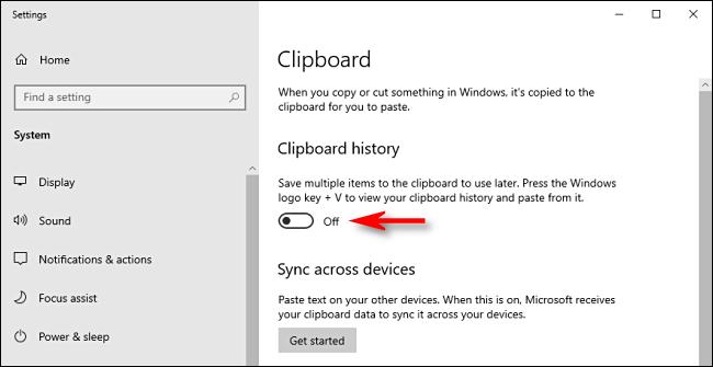 Haga clic en el interruptor de historial del portapapeles en la configuración del sistema de Windows 10 para apagarlo.
