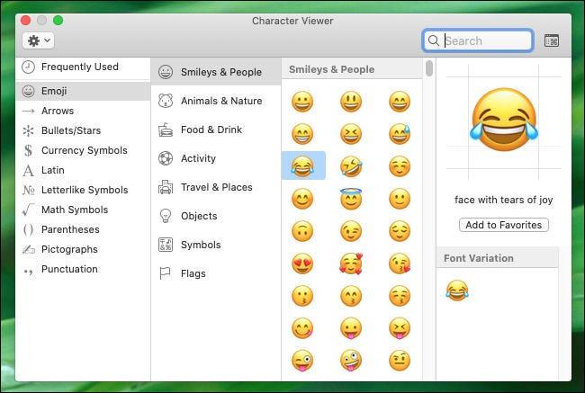 Revisión de la ventana Visor de caracteres en Mac.
