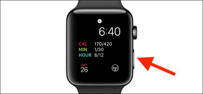 botón lateral que se muestra en el Apple Watch