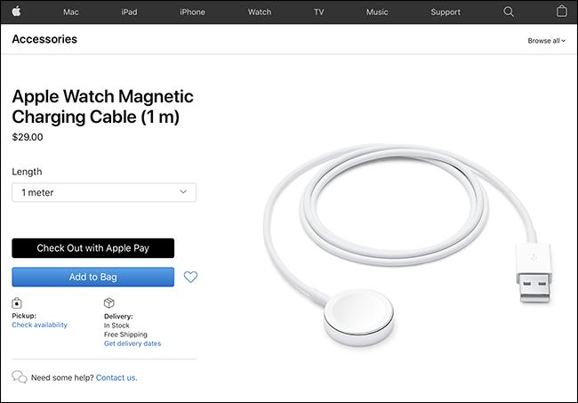 Cable de carga de Apple Watch en el sitio web de Apple