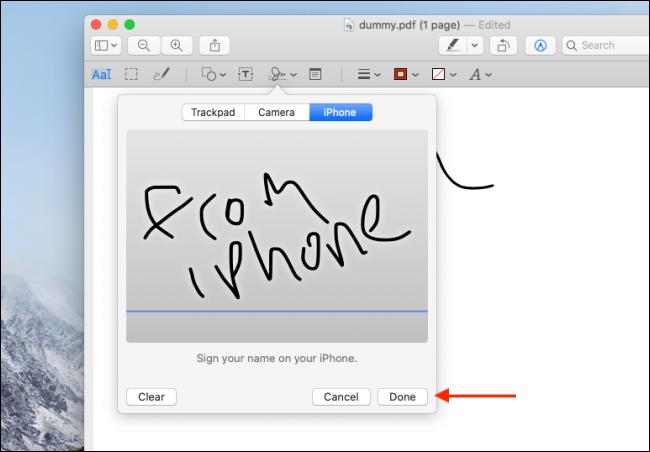 Haga clic en Listo después de firmar con iPhone