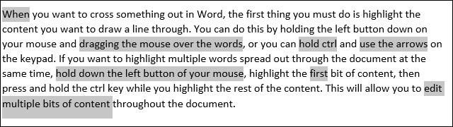 Resalta varias palabras en Word