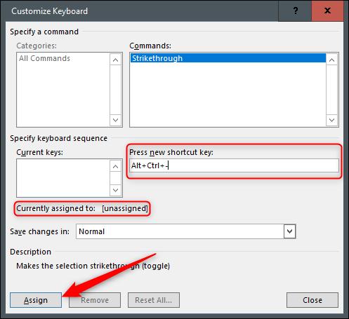 Crear acceso directo para tachado en Word