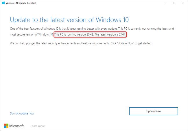 Asistente de actualización de Windows 10 que muestra una actualización a 21H1.