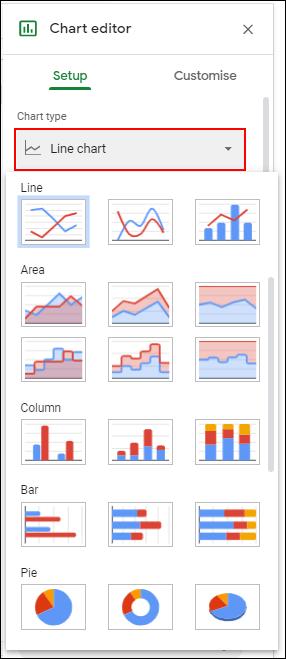 En la herramienta Editor de gráficos, haga clic en la pestaña Configuración, luego elija un nuevo tipo de gráfico en el menú desplegable Tipo de gráfico