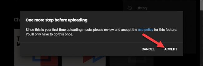 política de uso de música de youtube