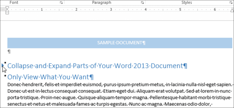 Cómo contraer y expandir partes de su documento en Word