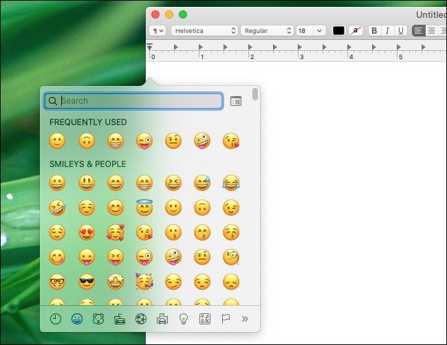 Ventana de selección de emoji de Mac