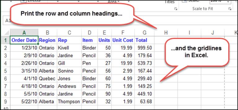 Cómo imprimir líneas de cuadrícula y encabezados de filas y columnas en Excel