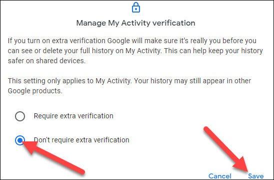 """Elegir el """"No requiere verificación adicional"""" opción y haga clic en """"para salvaguardar"""""""