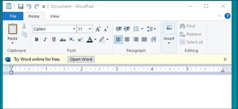 Microsoft está probando anuncios en WordPad en Windows 10