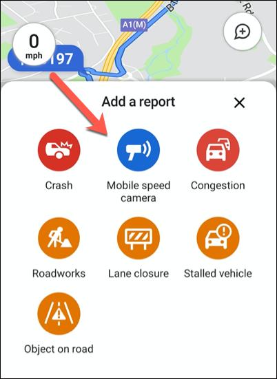 Haga clic en una de las opciones de informes de tráfico disponibles para agregarla a su ubicación en Google Maps.