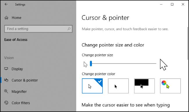 """los """"Cursor y puntero"""" en la aplicación Configuración de Windows 10."""