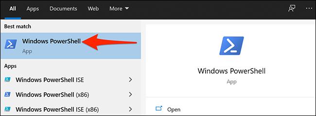 """Para seleccionar """"Windows PowerShell"""" en el menú Inicio de Windows."""