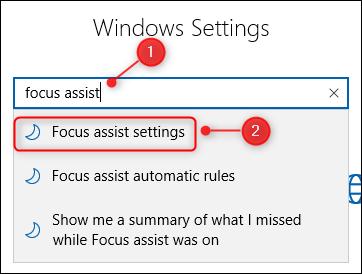 El cuadro de búsqueda de Configuración de Windows.