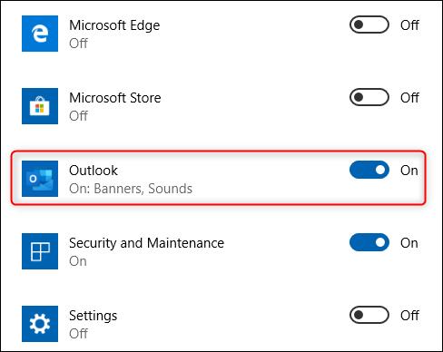 La opción de la aplicación Outlook.