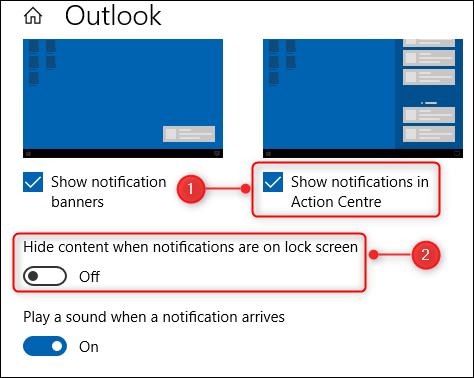 Dos de las opciones en las opciones de notificaciones de Outlook.