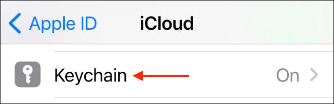 Toca Llavero en la configuración de iCloud