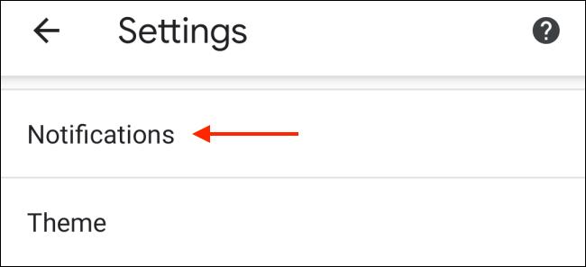 Toca Notificaciones de la configuración de Chrome