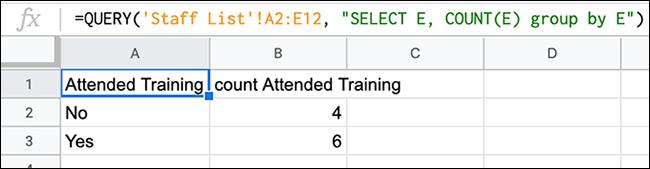 Una fórmula en Hojas de cálculo de Google, que utiliza una función CONSULTA combinada con un CONTAR para contar el número de menciones de un determinado valor en una columna.