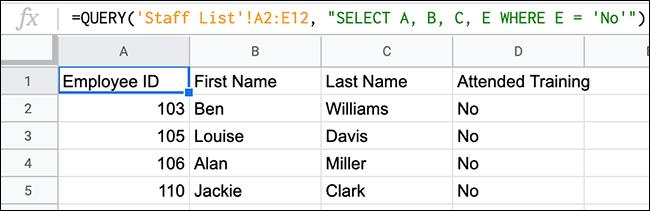 Una función de CONSULTA en Hojas de cálculo de Google que proporciona una lista de empleados que han asistido a una sesión de formación.