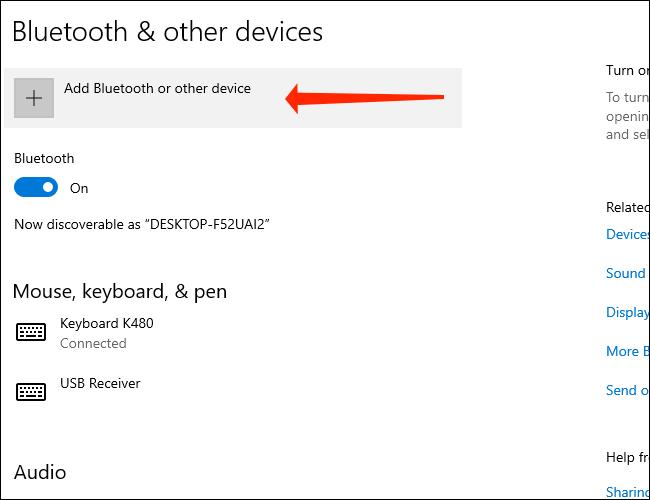 Haga clic en Agregar Bluetooth y otros dispositivos para emparejar un dispositivo Bluetooth con su PC con Windows 10