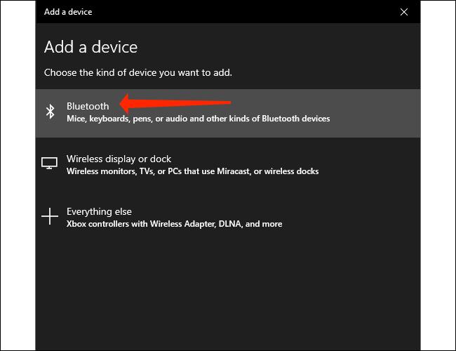 Haga clic en Bluetooth para emparejar un dispositivo Bluetooth con su PC con Windows 10