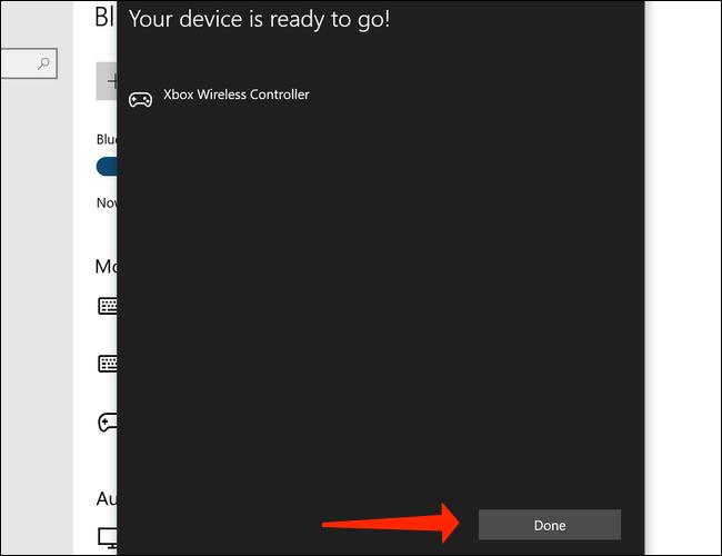 Haga clic en Listo para completar el emparejamiento del controlador inalámbrico Xbox con su PC con Windows 10
