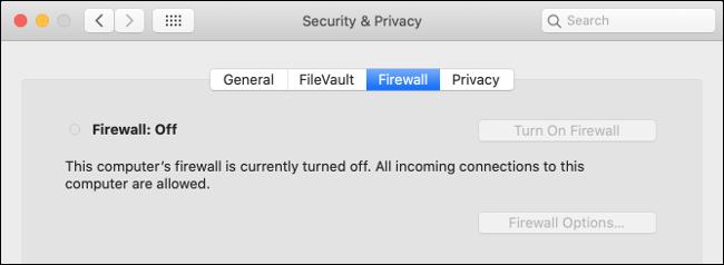 Cortafuegos de MacOS desactivado