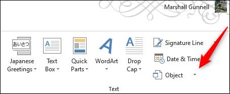 Opción de objeto en el grupo de texto