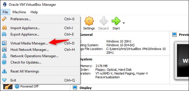 Lanzamiento de Virtual Media Manager en VirtualBox